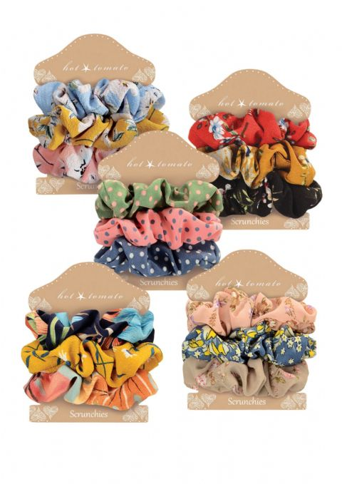 VINTAGE STYLE SCRUNCHIES BLACK/ YELLOW/ RED